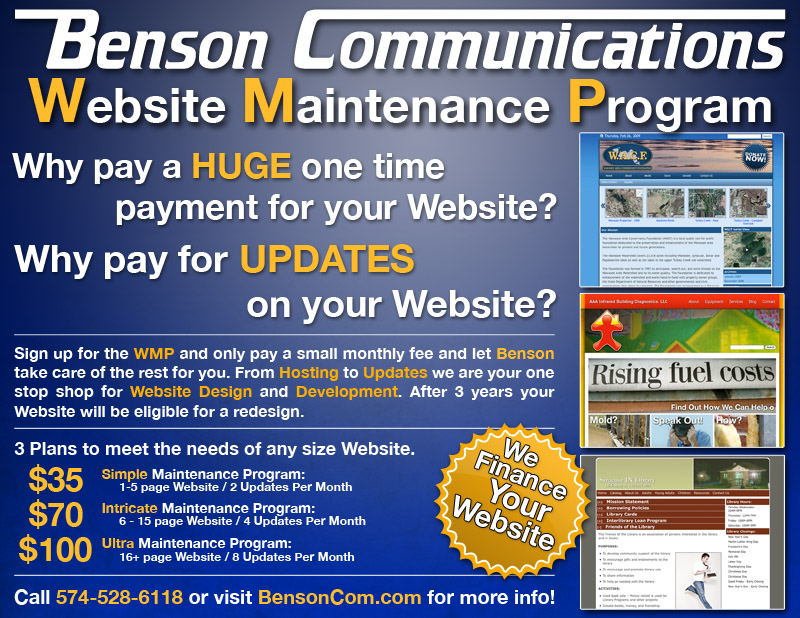 Benson Communications Website Plans