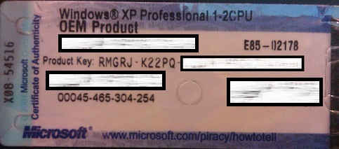 windows xp professional sp1 oem product key